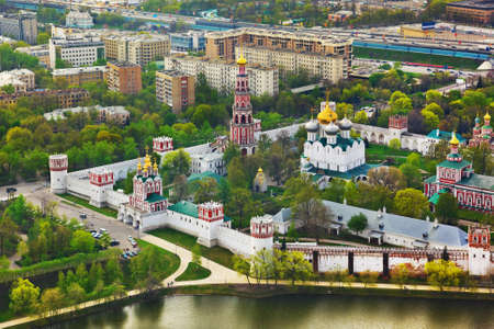 convent: Novodevichiy convent in Moscow, Russia - aerial view Stock Photo