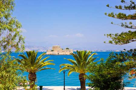 bourtzi: Bourtzi castle island in Nafplion, Greece - architecture background