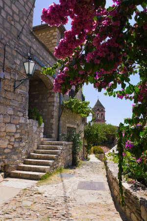 door leaf: Street at Omis, Croatia - architecture background Stock Photo