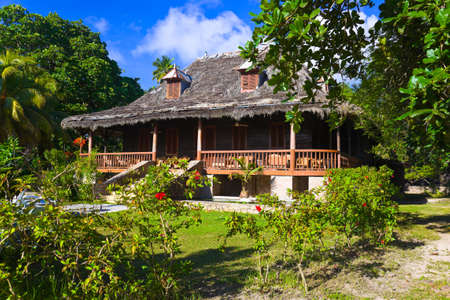 colonial house: Retro colonial house at Seychelles - travel background Editorial