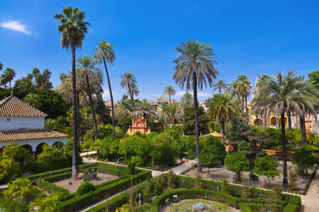 royal park: Real Alcazar Gardens in Seville Spain - nature and architecture background