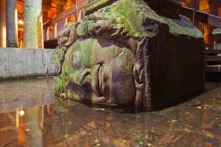Medusa head at Underground water Basilica Cistern - Istanbul Turkey photo