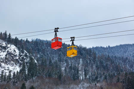 Cable way at mountains ski resort St. Gilgen Austria - nature and sport background photo