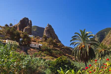 wild canary: Hermigua valley in La Gomera island - Canary Spain