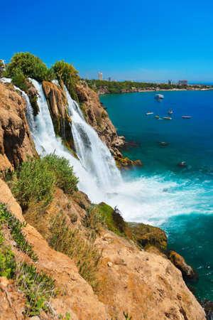 waterfall in the city: Waterfall Duden at Antalya, Turkey - nature travel background