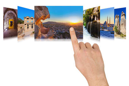 scrolling: Hand scrolling Turkey travel images - nature and architecture concept  my photos