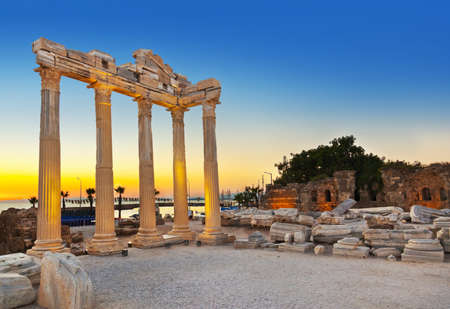 sea side: Old ruins in Side, Turkey at sunset - archeology background Stock Photo