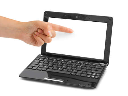 Notebook computer and pointing hand isolated on white background photo