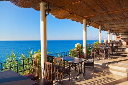 caribbean food: Cafe on tropical beach - travel background