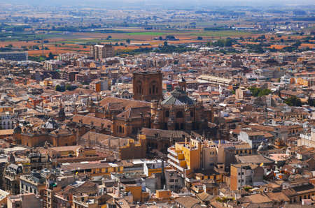 Cathedral at Granada Spain - view from Alhambra palace photo