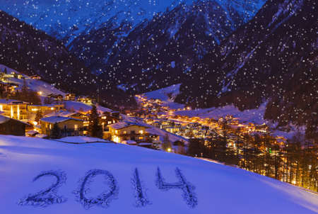 2014 on snow at mountains - Solden Austria - celebration background