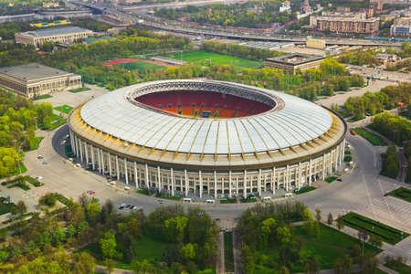 モスクワ, ロシア連邦 - 空撮でスタジアム Luzniki