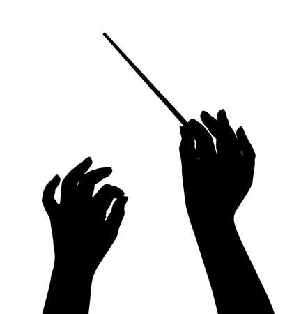 白い背景で隔離の音楽指揮者手