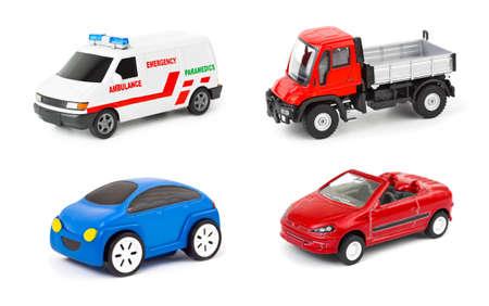 Set van auto's op een witte achtergrond Stockfoto