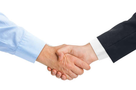 Handshake hands isolated on white background Foto de archivo