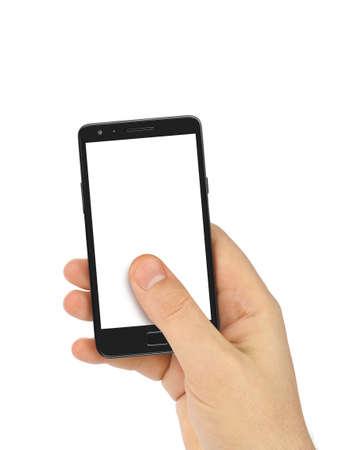 Hand met smartphone op een witte achtergrond Stockfoto - 36181685