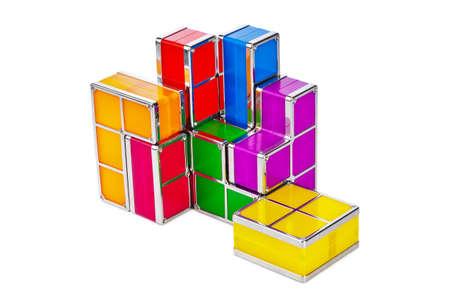 Tetris toy blocks isolated on white background Stock Photo