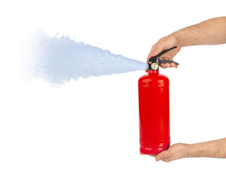 Hands with fire extinguisher isolated on white background