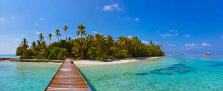Tropische Malediven Insel - Natur Reisen Hintergrund Standard-Bild - 36463842