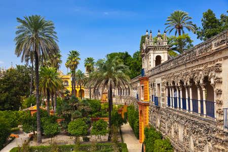 Jardines Real Alcázar de Sevilla España - naturaleza y la arquitectura de fondo Foto de archivo - 36941421