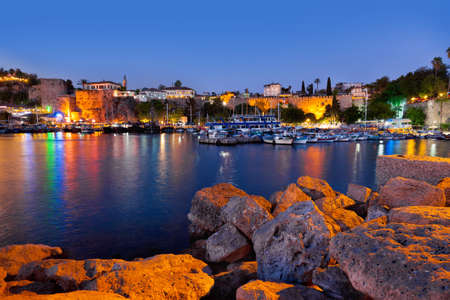 Old town Kaleici in Antalya, Turkey at night - travel background Standard-Bild