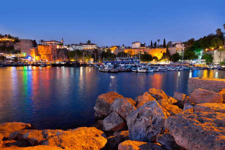Old town Kaleici in Antalya, Turkey at night - travel background Foto de archivo