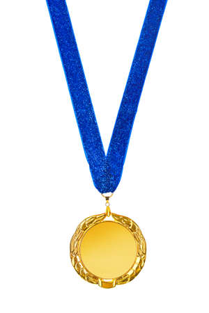 Gouden medaille geïsoleerd op witte achtergrond Stockfoto - 39021225