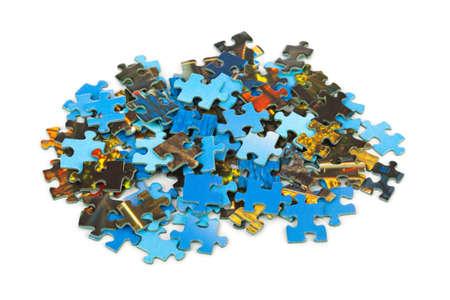 Stukjes puzzel geïsoleerd op witte achtergrond Stockfoto