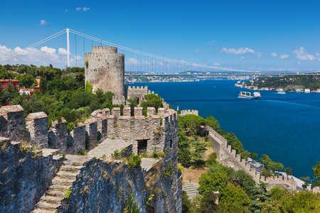 이스탄불 터키 - 아키텍처 배경에서 Rumeli 요새