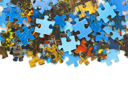 Stukjes puzzel geïsoleerd op witte achtergrond Stockfoto - 41454910