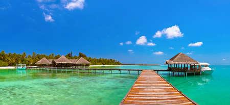 熱帯のモルディブの島 - 旅行、自然の背景