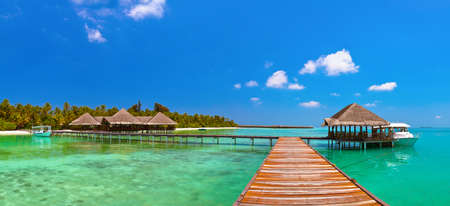Tropisch eiland van de Maldiven - natuur reizen achtergrond