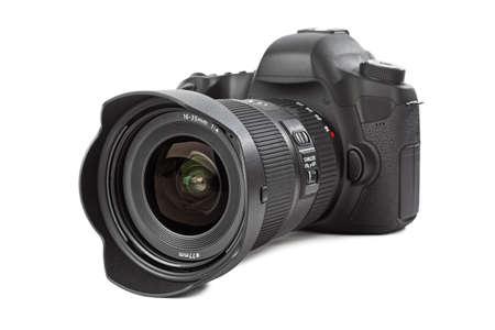 Foto camera geïsoleerd op witte achtergrond Stockfoto