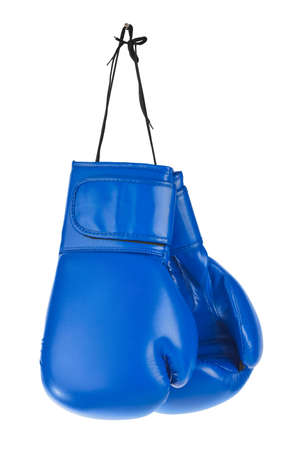 Hanging boxing gloves isolated on white background Banque d'images