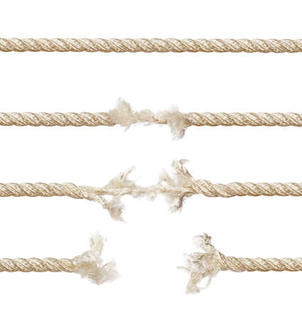 Set of ropes isolated on white background Foto de archivo