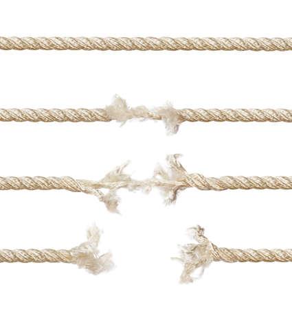 Set van touwen geïsoleerd op witte achtergrond  Stockfoto