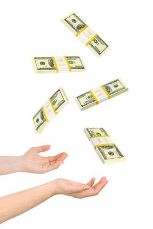 Juggling handen en geld op een witte achtergrond