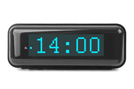 Digital clock isolated on white background Stock Photo