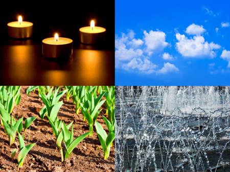 Conjunto de cuatro elementos fuego, agua, aire, suelo - fondos de la naturaleza