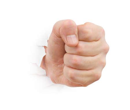 Poing poinçonnage papier isolée sur fond blanc