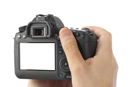 Photo camera in hand isolated on white background Archivio Fotografico