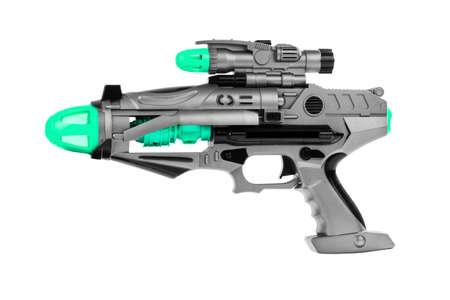 Fantastisch speelgoed pistool op een witte achtergrond
