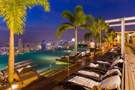 Zwembad op het dak en de skyline van Singapore