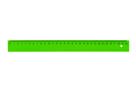 Gobernante verde aislado en el fondo blanco Foto de archivo - 64805846