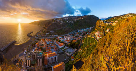 Town Ribeira Brava in Madeira Portugal - travel background
