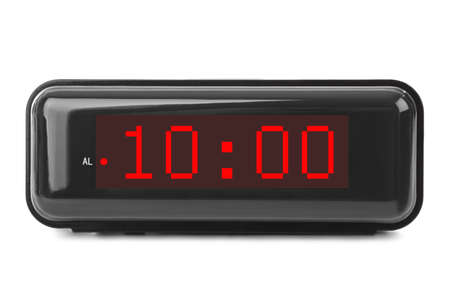 Digital clock isolated on white background Banque d'images