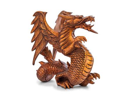 Toy wood dragon isolated on white background Stock Photo