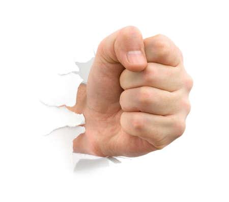 白い背景に分離された紙をパンチ拳