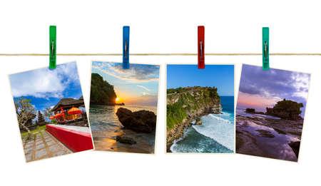 Bali Indonesien Reisen Bilder (meine Fotos) auf Wäscheklammern isoliert auf weißem Hintergrund