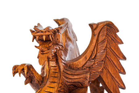 Toy wood dragon isolated on white background Stock Photo